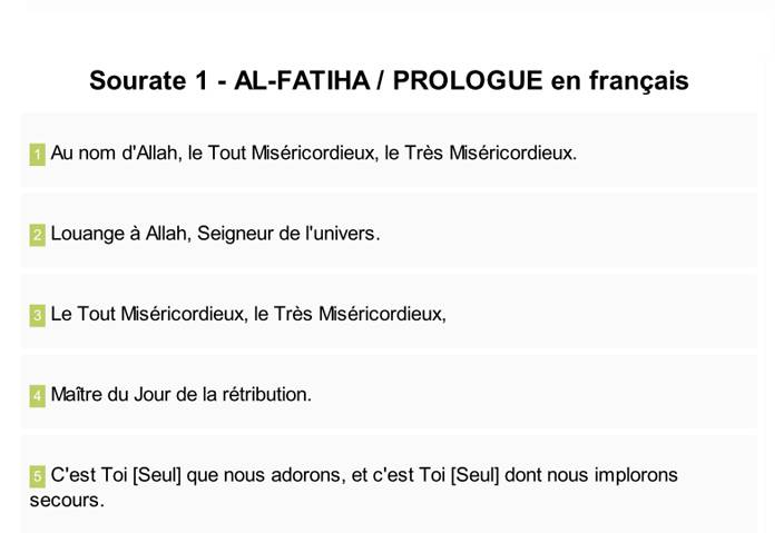texte arabe avec traduction francais